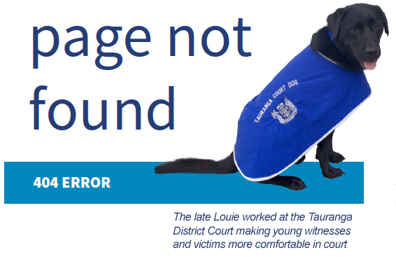 Page not found image: Louie the Tauranga court dog
